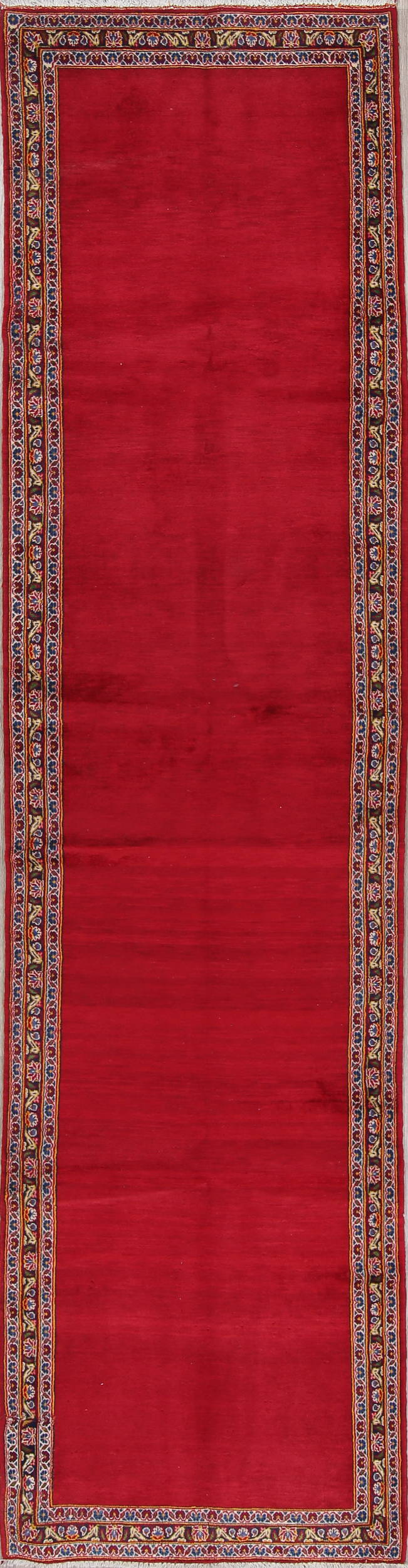 Solid Red Kashan Persian Hand-Knotted 3x13 Wool Runner Rug