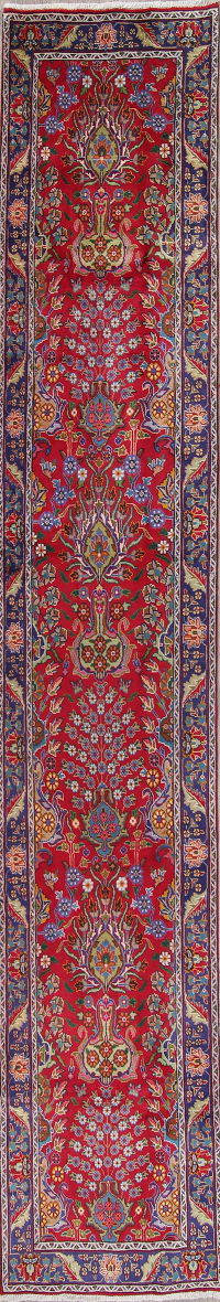 Floral Tabriz Persian Hand-Knotted 3X16 Wool Runner Rug