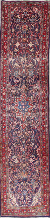 Sarouk Persian Hand-Knotted 3x15 Wool Runner Rug