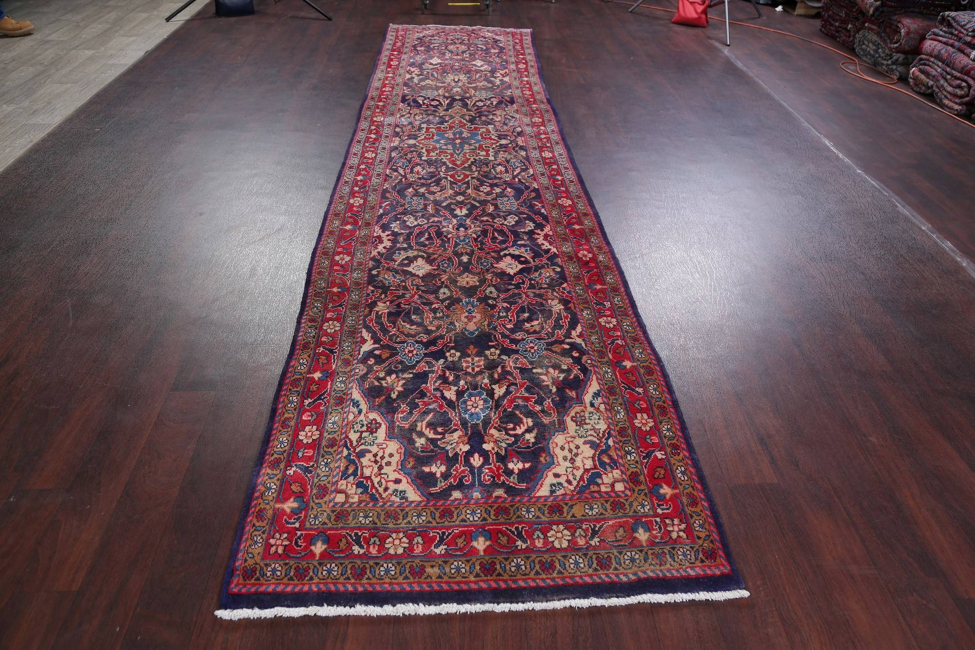 Geometric Mahal Persian Hand-Knotted 3x15 Wool Runner Rug