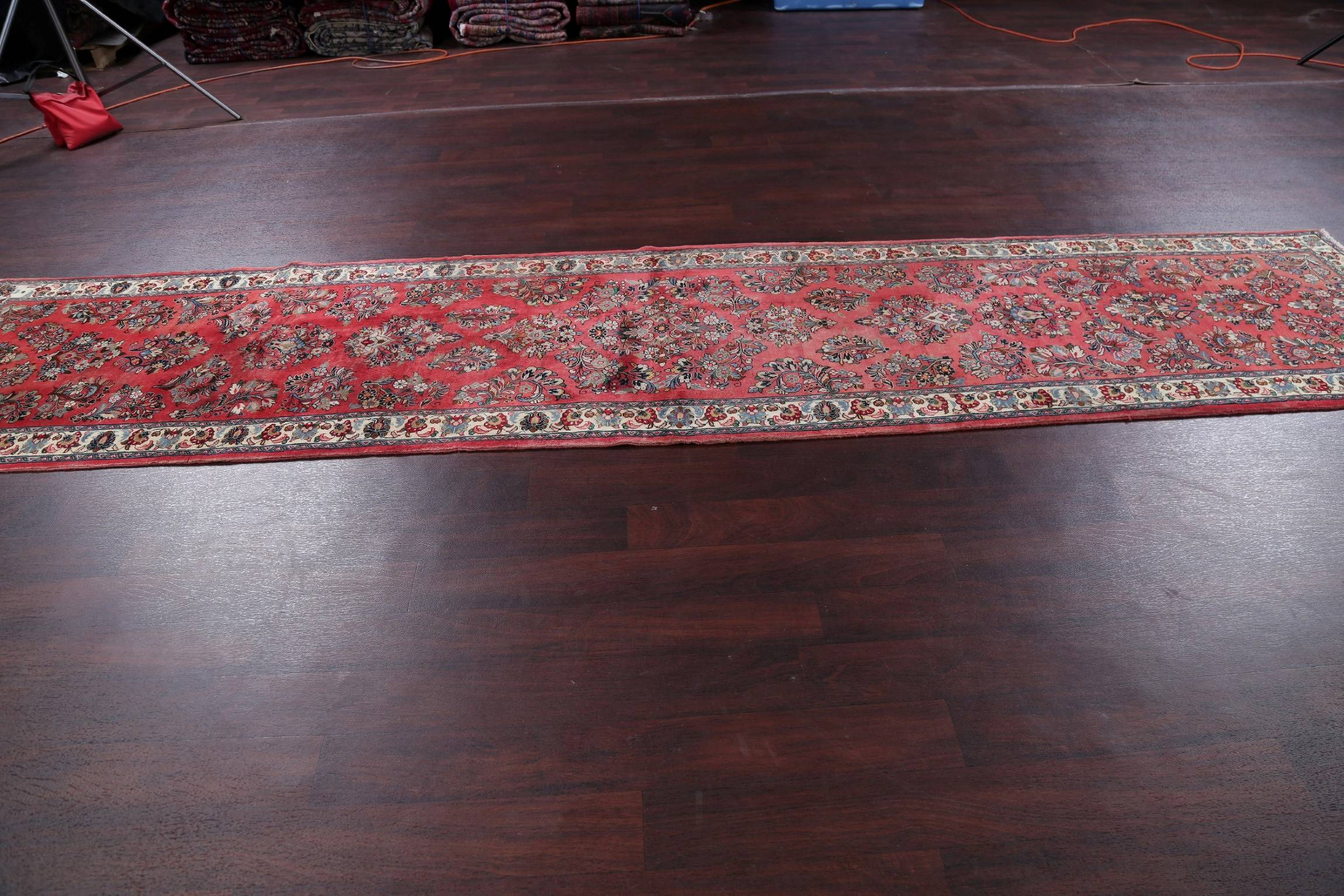 Floral Coral Red Sarouk Persian Hand-Knotted 3x13 Wool Runner Rug