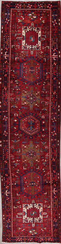 Red Geometric Heriz Persian Hand-Knotted 4x14 Wool Runner Rug