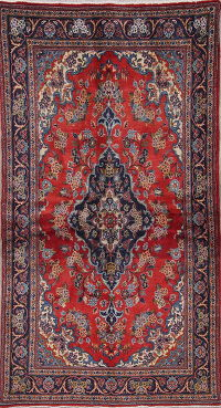 Traditional Floral Kashan Persian Hand-Knotted 3x6 Wool Runner Rug