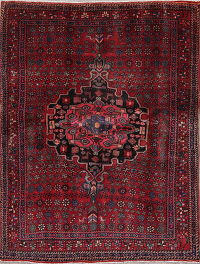 Geometric Red Bidjar Persian Hand-Knotted 5x6 Wool Area Rug