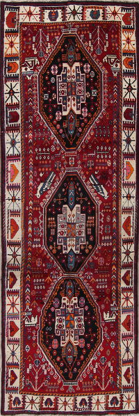 Tribal Geometric Shiraz Persian Hand-Knotted 4x10 Wool Runner Rug