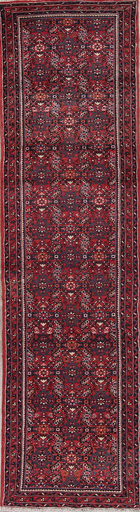 Geometric Hossainabad Persian Hand-Knotted 3x10 Wool Runner Rug