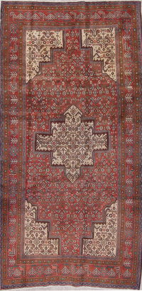 Geometric Red Bidjar Persian Hand-Knotted 4x9 Wool Runner Rug