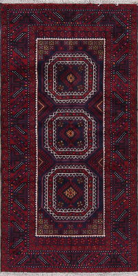 Red Geometric Balouch Oriental Hand-Knotted 3x6 Wool Runner Rug