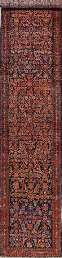 Antique Vegetable Dye Bakhtiari Persian Hand-Knotted 3x17 Runner Rug