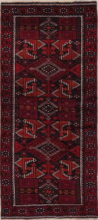Geometric Balouch Afghan Oriental Hand-Knotted 3x7 Wool Runner Rug