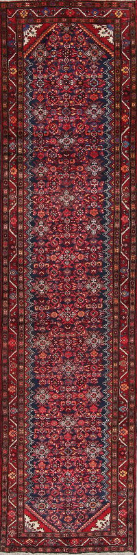 Geometric Malayer Persian Hand-Knotted 3x14 Wool Runner Rug