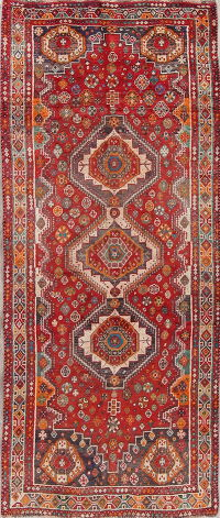 Antique Geometric Red Tribal Qashqai Persian Runner Rug 3x8