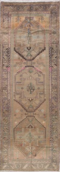 Tribal Geometric Hamedan Persian Hand-Knotted 3x10 Wool Runner Rug
