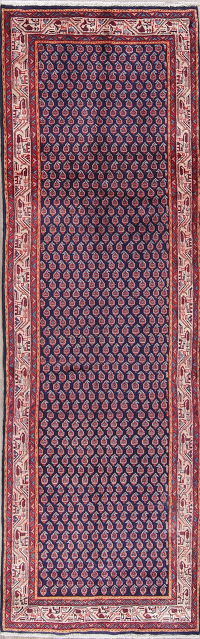 All-Over Paisley Botemir Persian Hand-Knotted 3x11 Wool Runner Rug