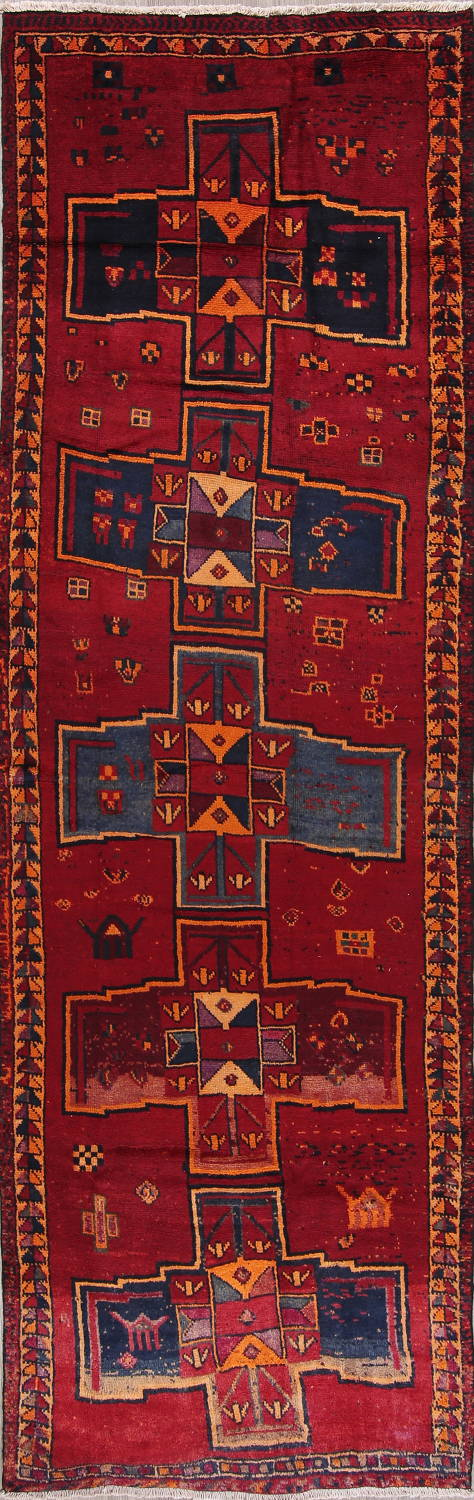 Antique Geometric Lori Persian Hand-Knotted 4x13 Wool Runner Rug image 1