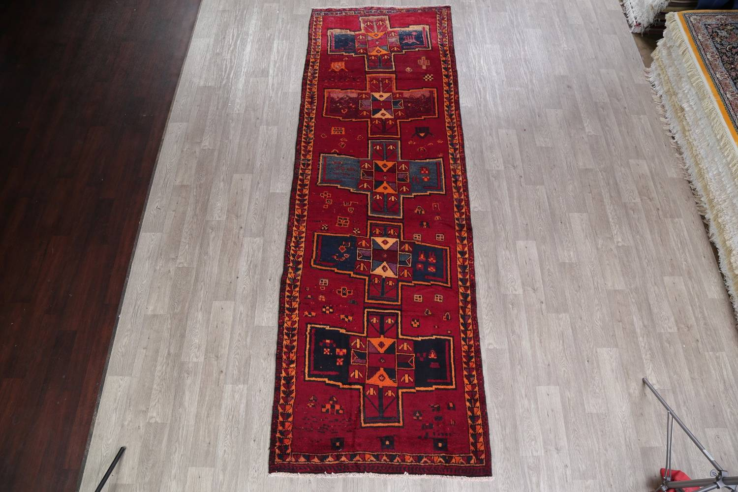 Antique Geometric Lori Persian Hand-Knotted 4x13 Wool Runner Rug image 2