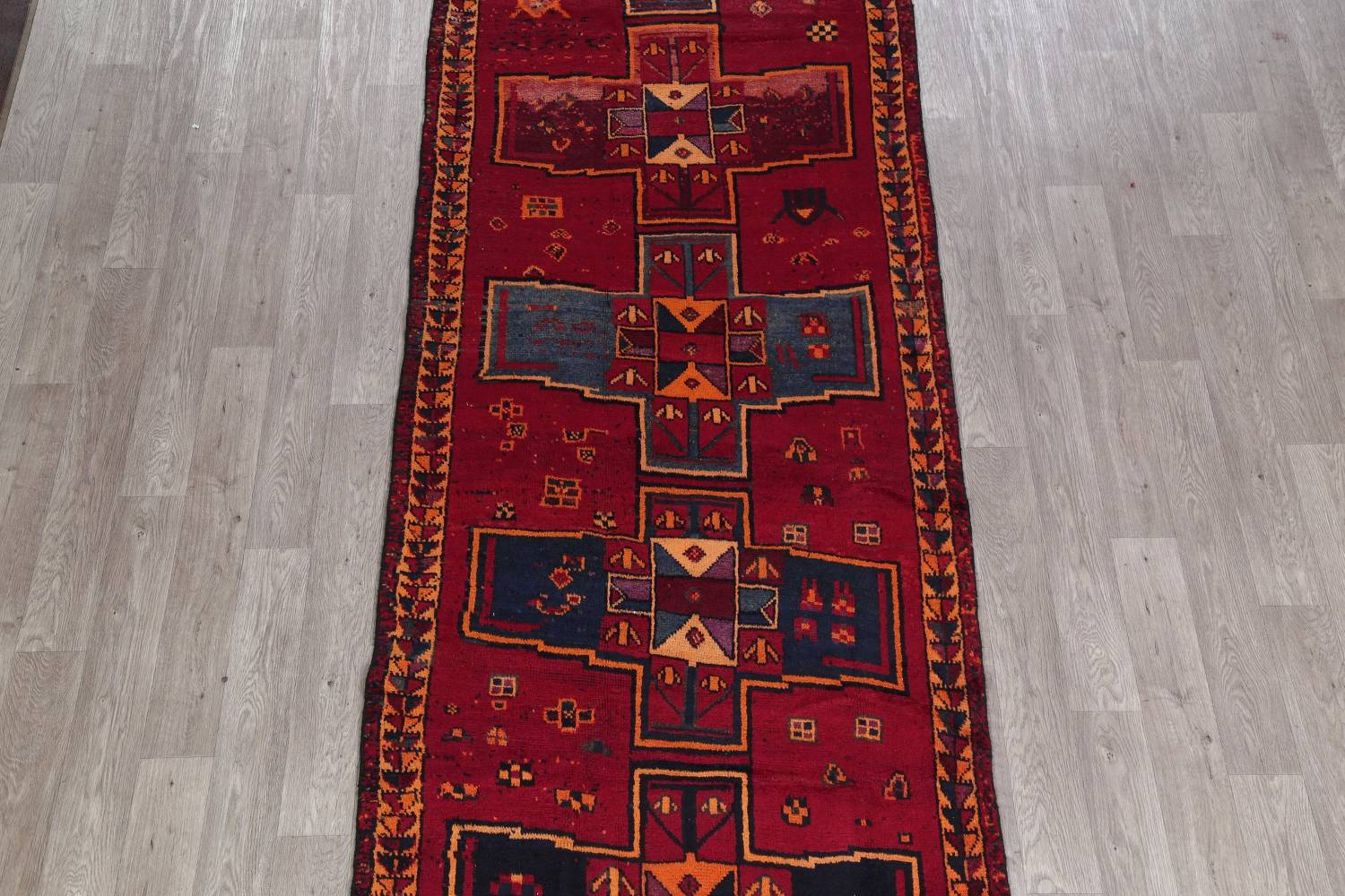 Antique Geometric Lori Persian Hand-Knotted 4x13 Wool Runner Rug image 3