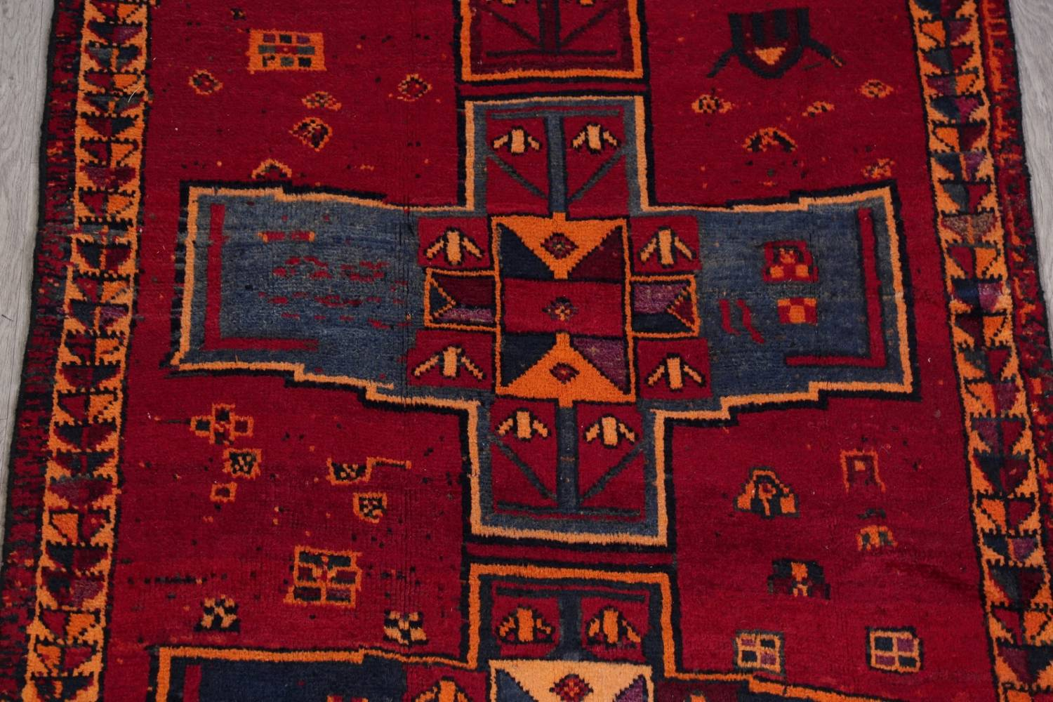 Antique Geometric Lori Persian Hand-Knotted 4x13 Wool Runner Rug image 4