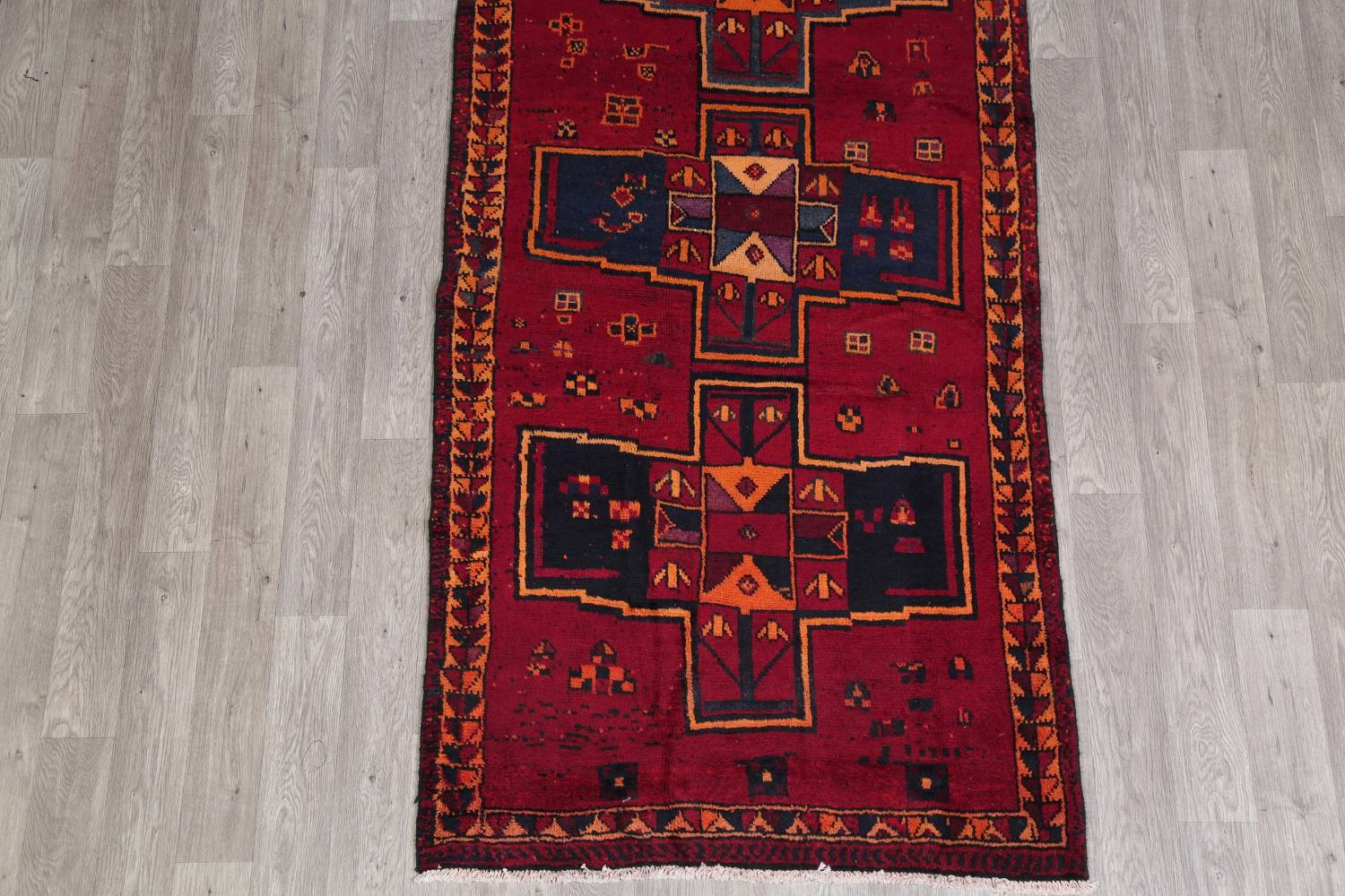 Antique Geometric Lori Persian Hand-Knotted 4x13 Wool Runner Rug image 5