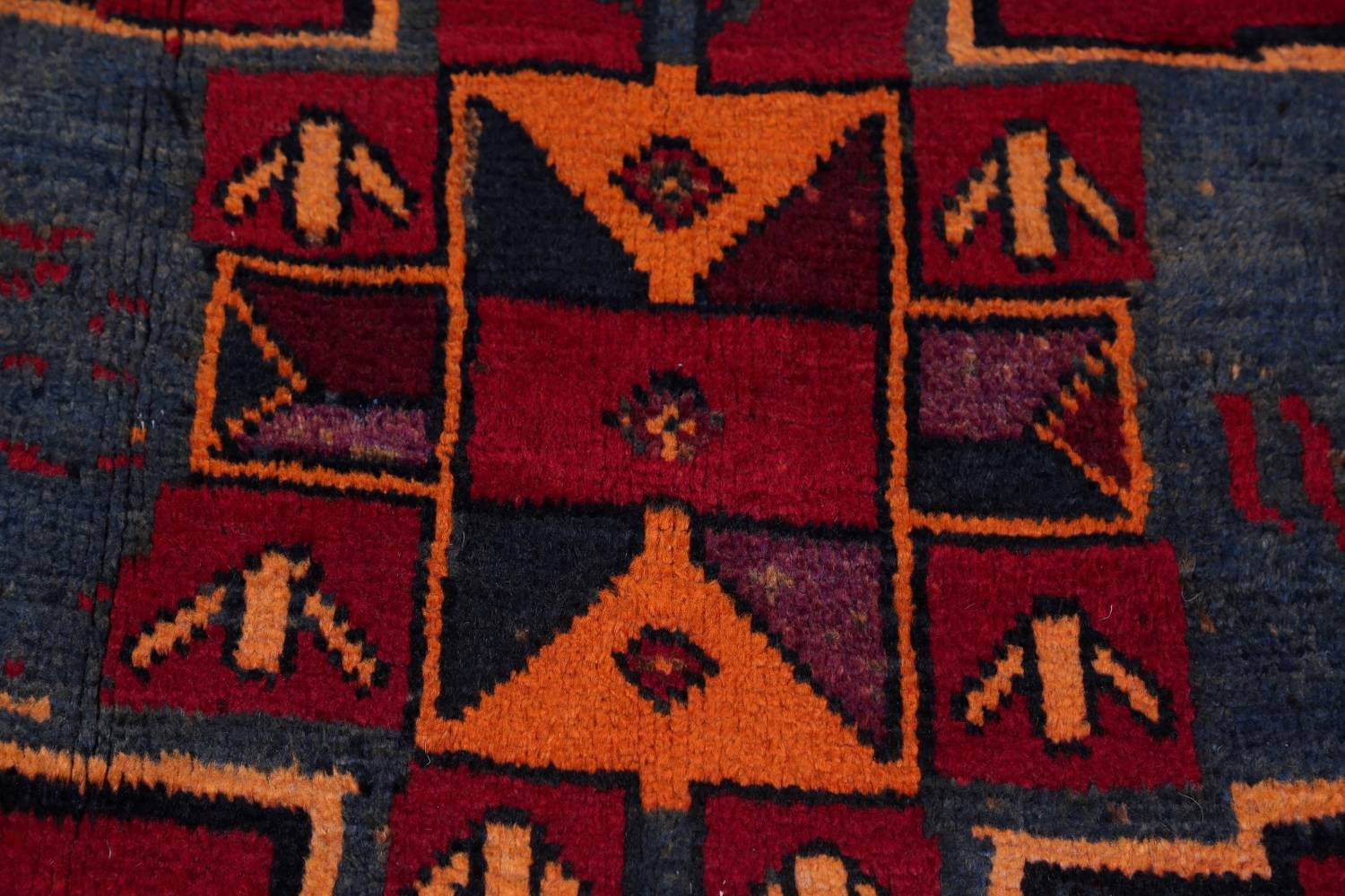 Antique Geometric Lori Persian Hand-Knotted 4x13 Wool Runner Rug image 7