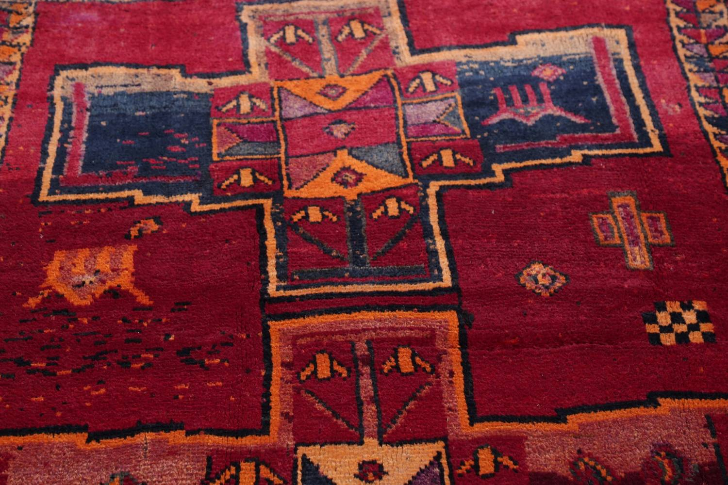 Antique Geometric Lori Persian Hand-Knotted 4x13 Wool Runner Rug image 13