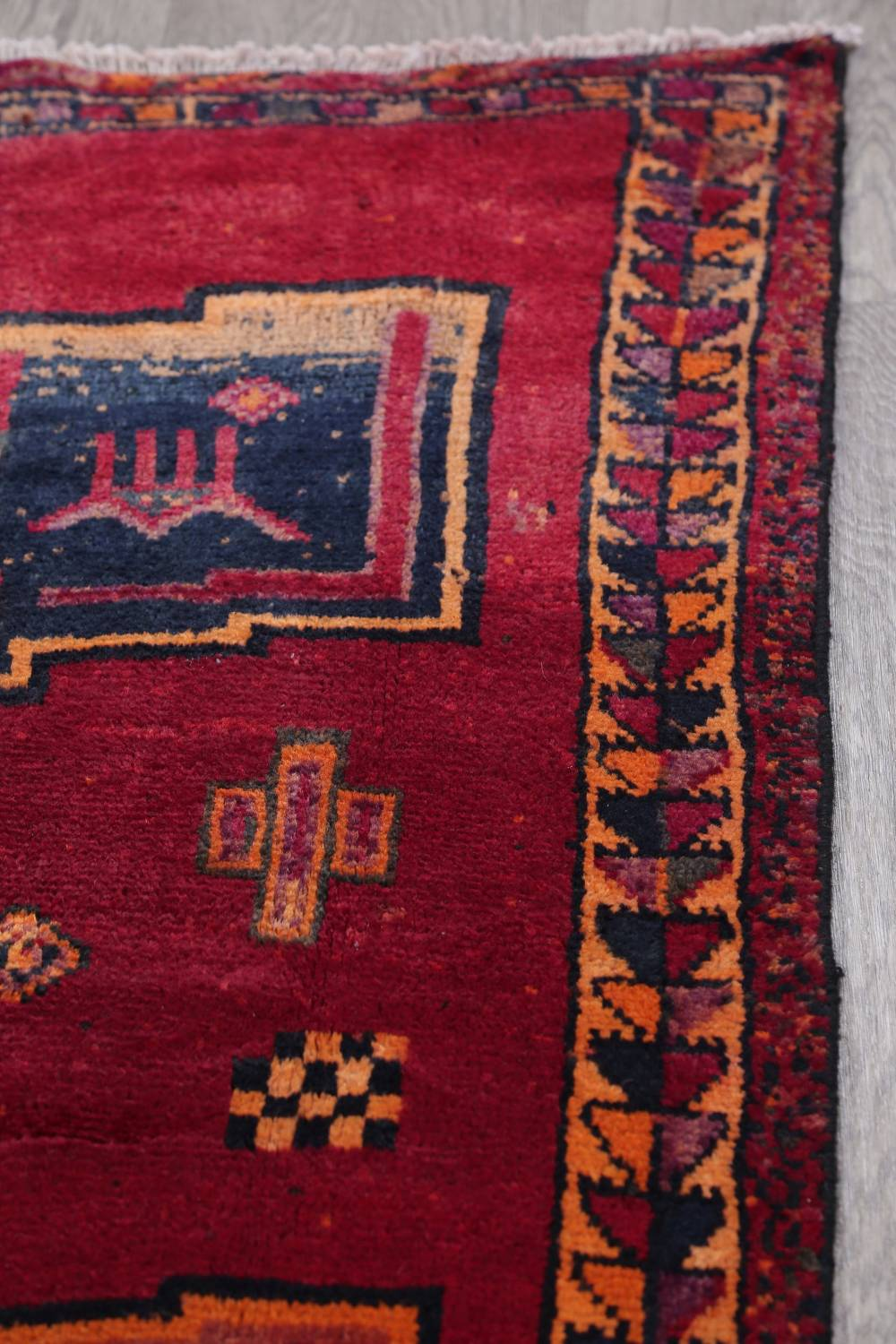 Antique Geometric Lori Persian Hand-Knotted 4x13 Wool Runner Rug image 14