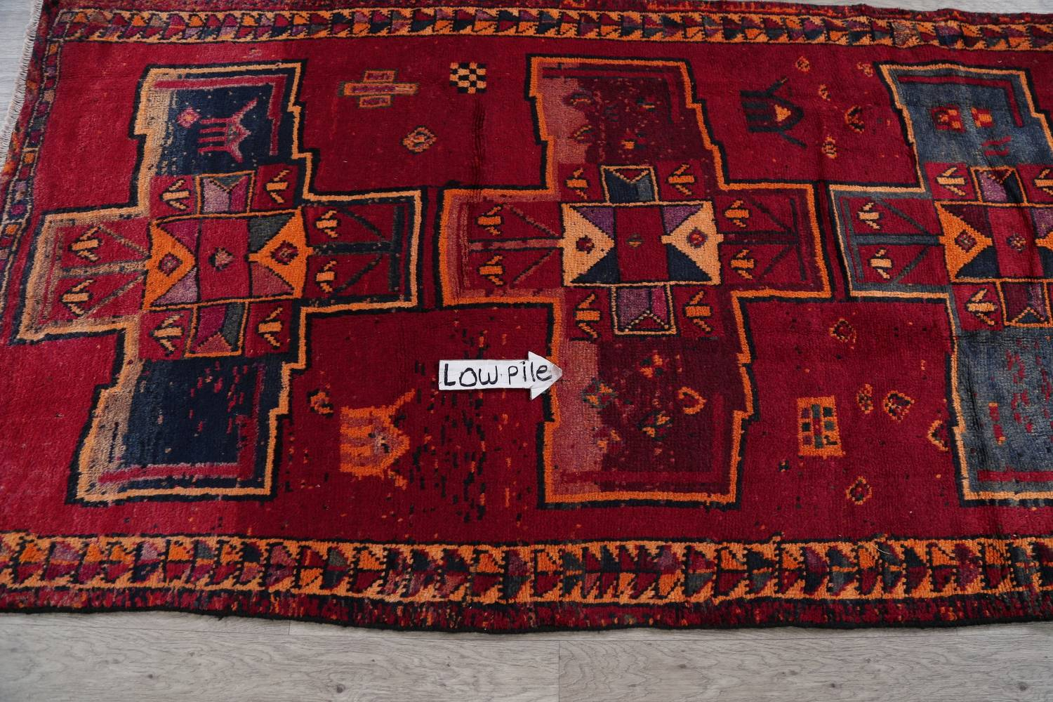 Antique Geometric Lori Persian Hand-Knotted 4x13 Wool Runner Rug image 9