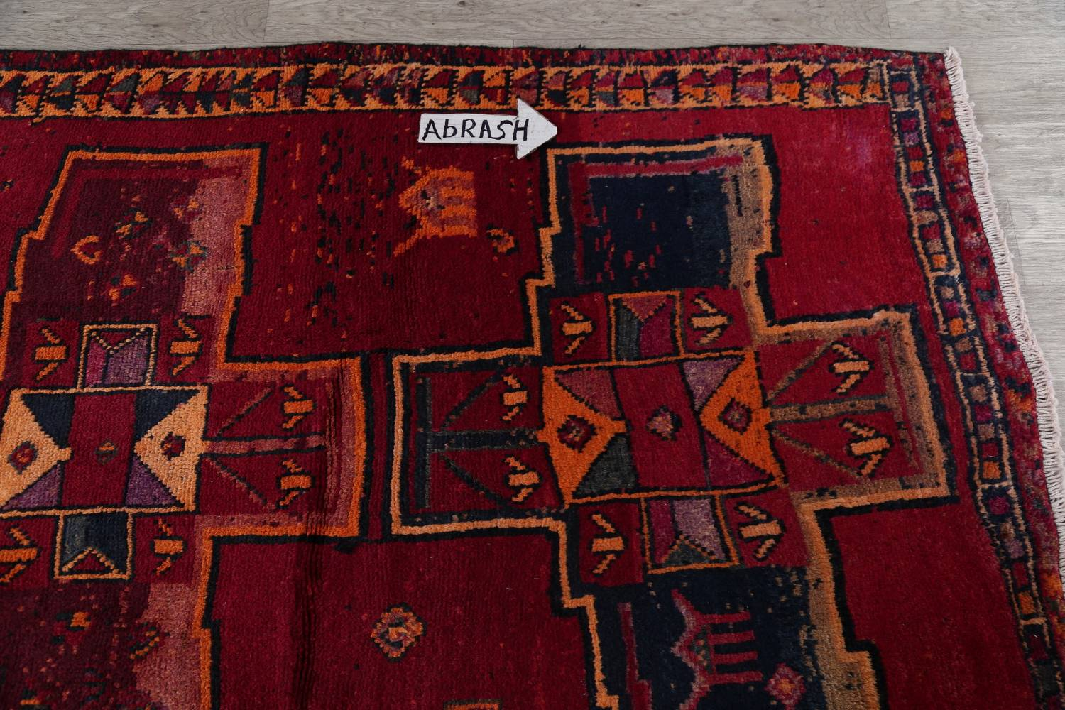 Antique Geometric Lori Persian Hand-Knotted 4x13 Wool Runner Rug image 10