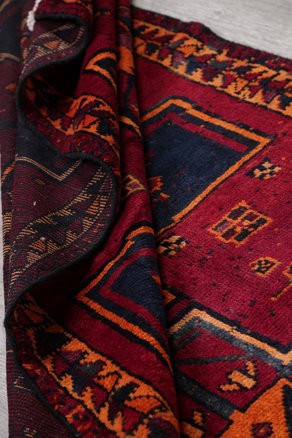 Antique Geometric Lori Persian Hand-Knotted 4x13 Wool Runner Rug image 18