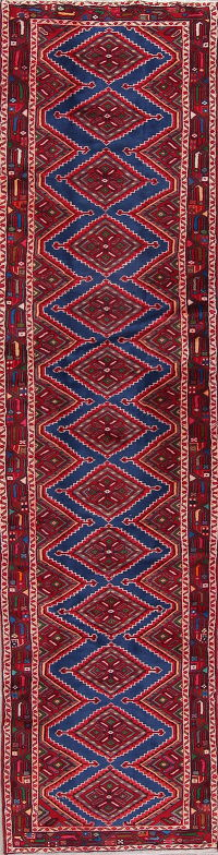 Geometric Hamedan Persian Hand-Knotted 3x11 Wool Runner Rug