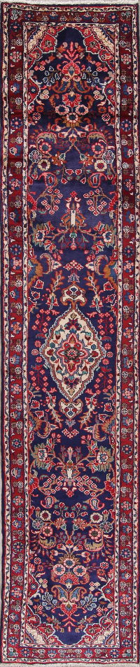 Navy Blue Floral Lilian Persian Hand-Knotted 3x13 Wool Runner Rug