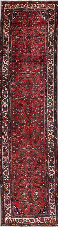 Geometric Hamedan Persian Hand-Knotted 3x13 Wool Runner Rug