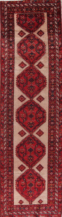 Geometric Ardebil Persian Hand-Knotted 3x13 Wool Runner Rug