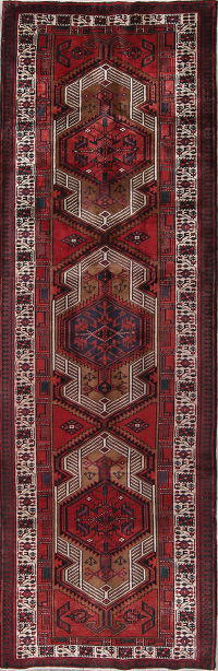 Geometric Meshkin Persian Hand-Knotted 4x11 Wool Runner Rug