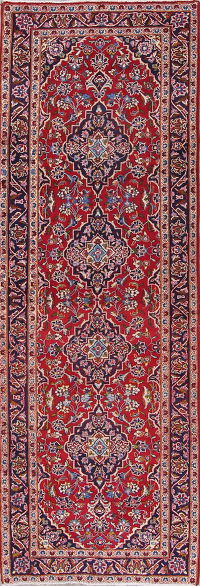 Traditional Floral Kashan Persian Hand-Knotted 3x10 Wool Runner Rug