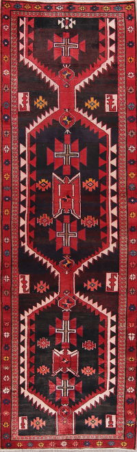 Geometric Meshkin Persian Hand-Knotted 4x12 Wool Runner Rug
