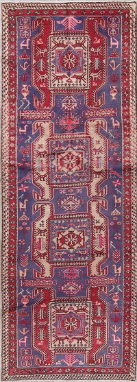 Tribal Geometric Meshkin Persian Hand-Knotted 3x10 Wool Runner Rug