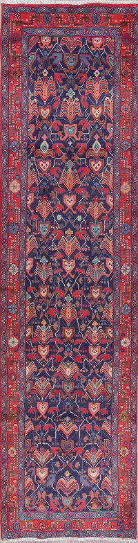 All-Over Blue Sarouk Persian Hand-Knotted 3x13 Wool Runner Rug