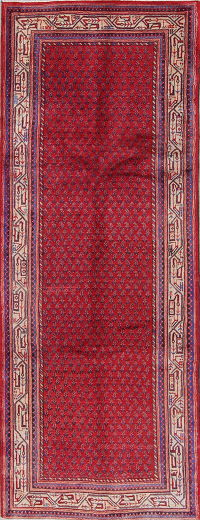 All-Over Paisley Botemir Persian Hand-Knotted 4x9 Wool Runner Rug