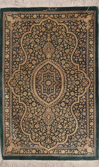 Green Floral Qum Persian Hand-Knotted 2x3 Silk Rug