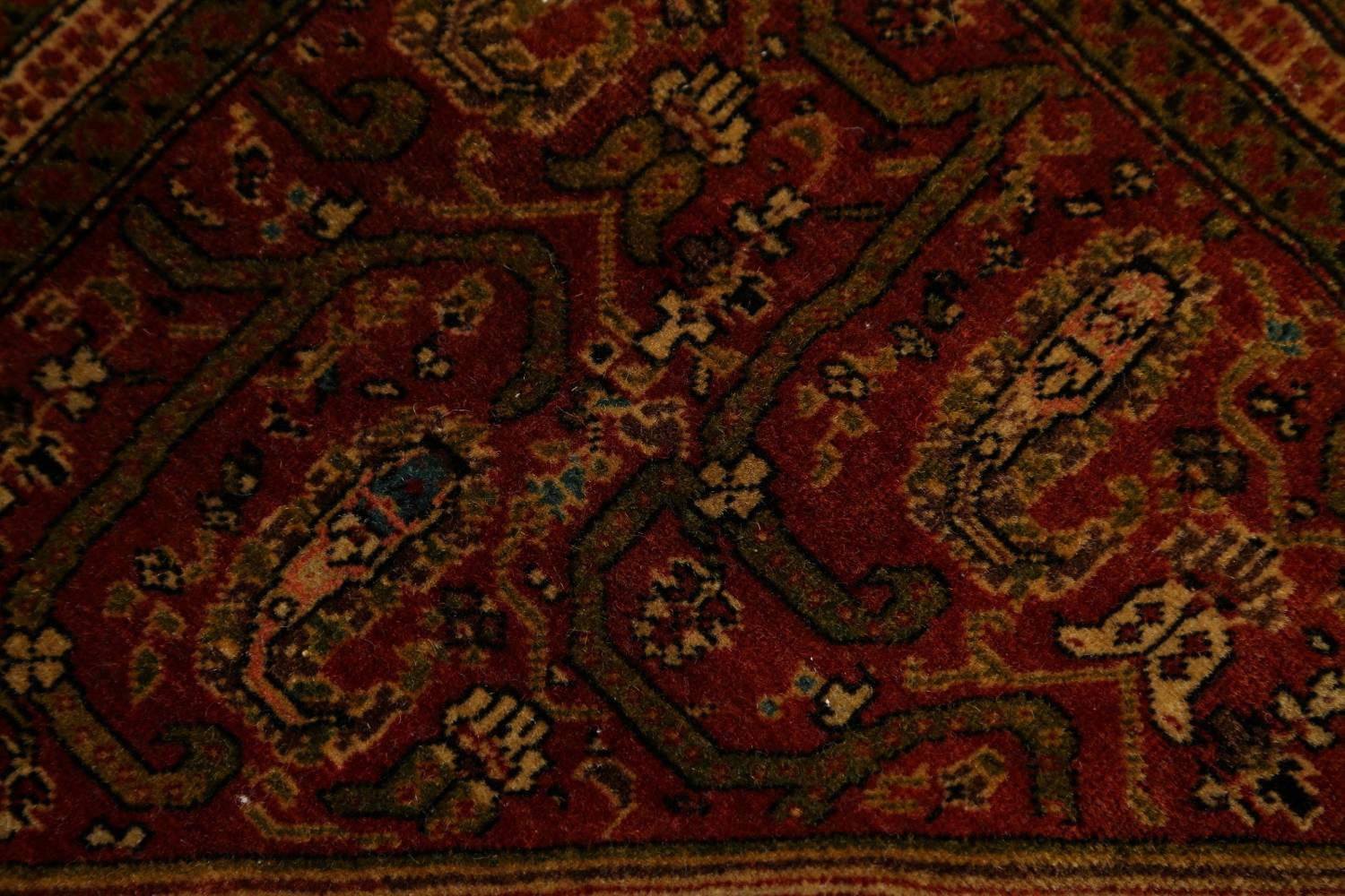 Pre-1900 Vegetable Dye Sarouk Farahan Persian Hand-Knotted 3x3 Square Rug image 10