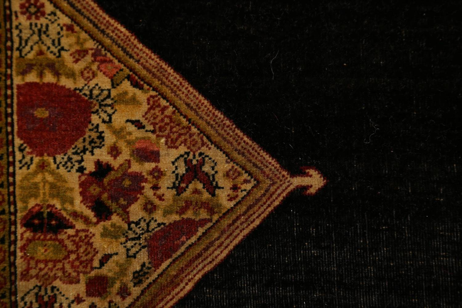 Pre-1900 Vegetable Dye Sarouk Farahan Persian Hand-Knotted 3x3 Square Rug image 12