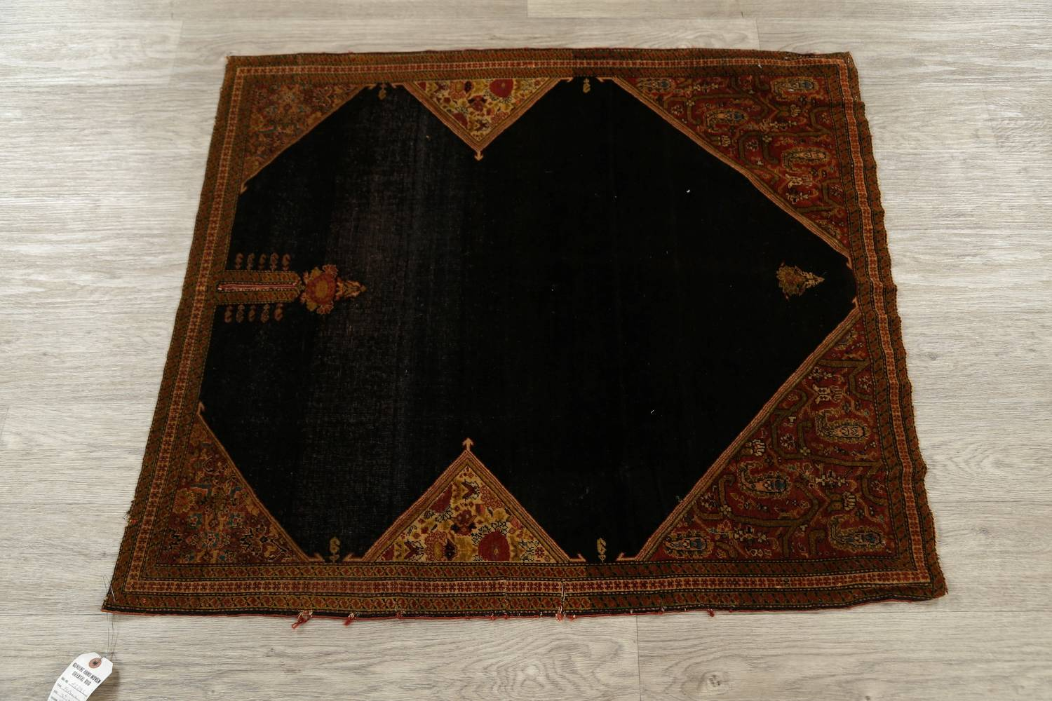 Pre-1900 Vegetable Dye Sarouk Farahan Persian Hand-Knotted 3x3 Square Rug image 14