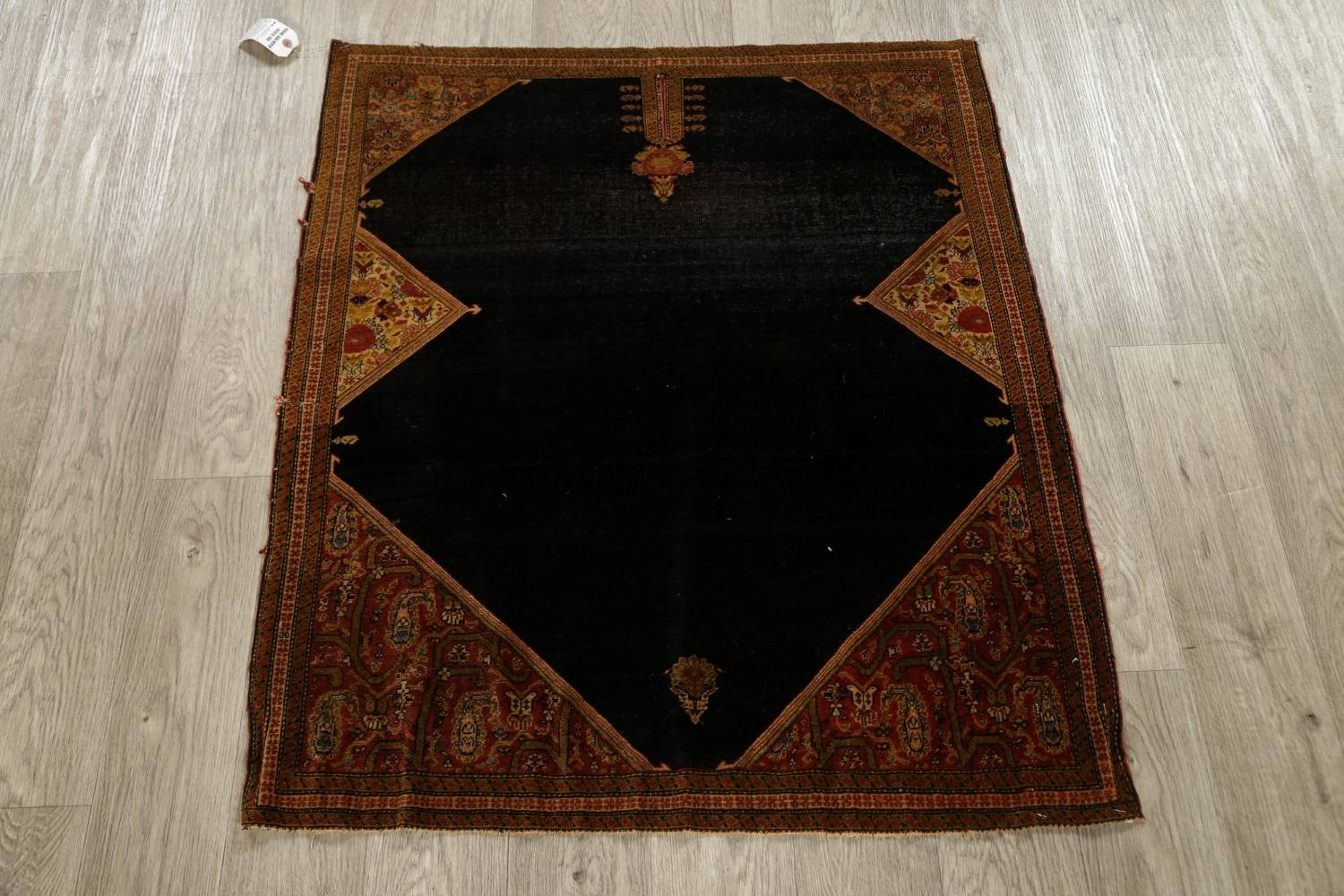 Pre-1900 Vegetable Dye Sarouk Farahan Persian Hand-Knotted 3x3 Square Rug image 15