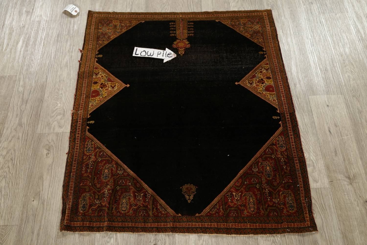 Pre-1900 Vegetable Dye Sarouk Farahan Persian Hand-Knotted 3x3 Square Rug image 7