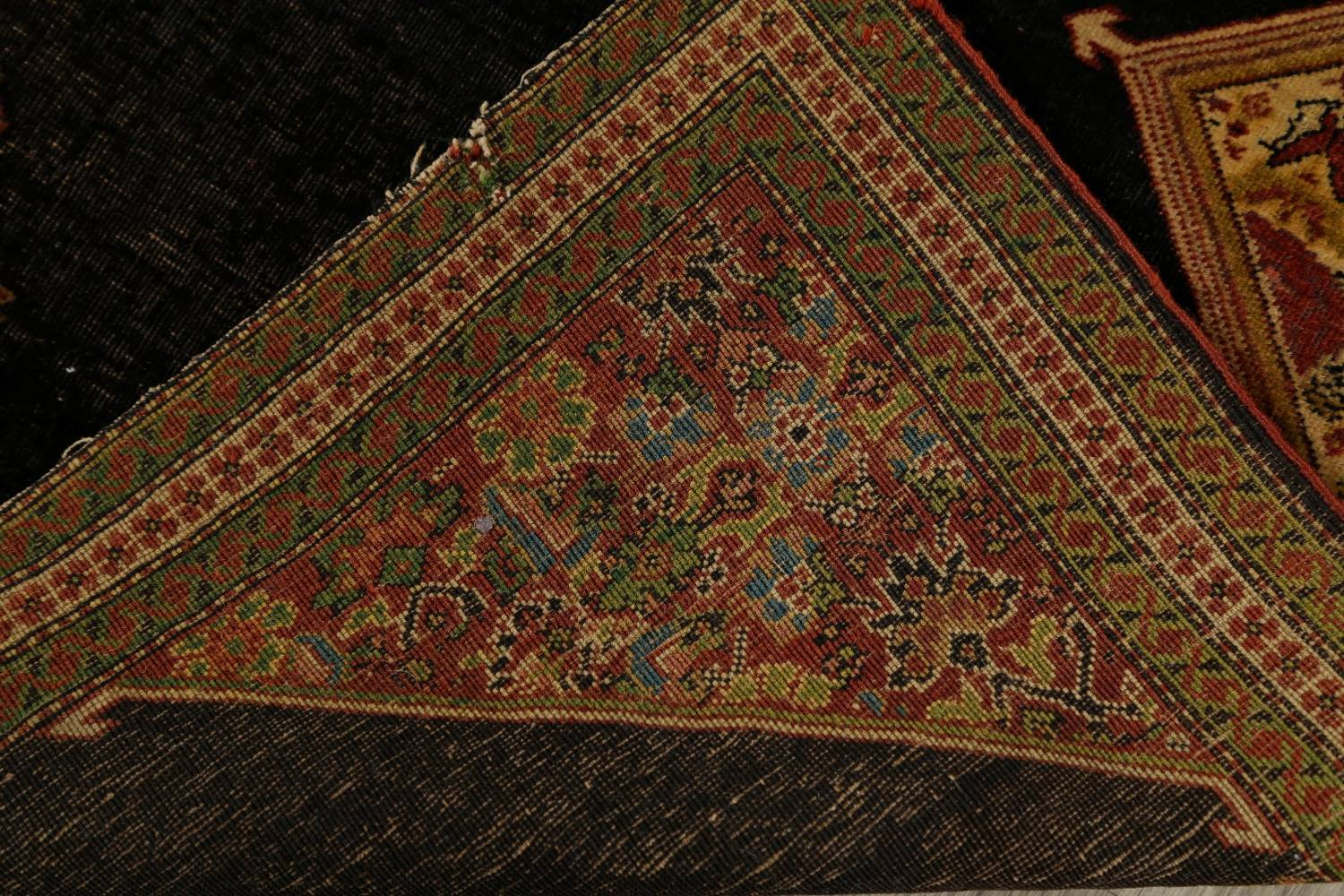 Pre-1900 Vegetable Dye Sarouk Farahan Persian Hand-Knotted 3x3 Square Rug image 21