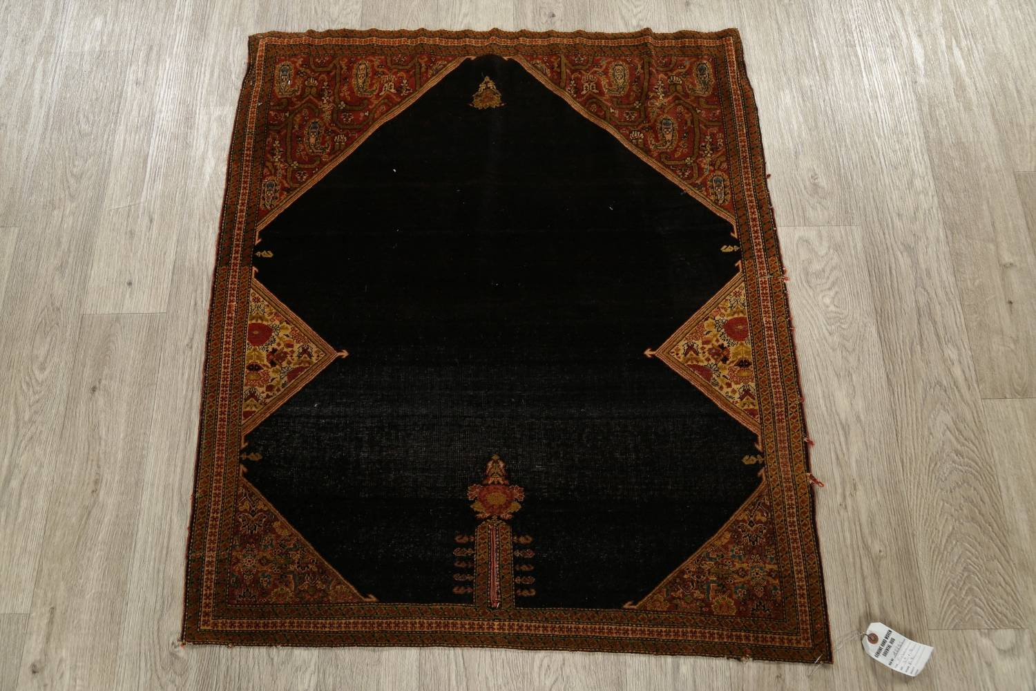 Pre-1900 Vegetable Dye Sarouk Farahan Persian Hand-Knotted 3x3 Square Rug image 2