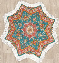 Floral Teal Tabriz Persian Hand-Knotted 3x3 Wool Silk Star Rug
