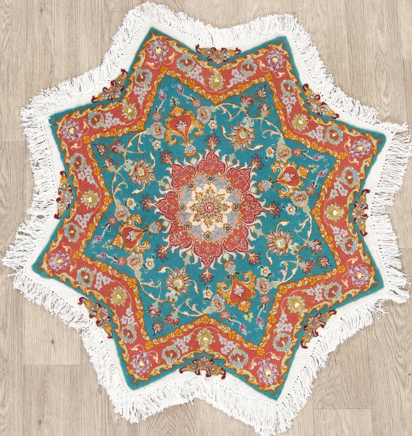 Floral Teal Tabriz Persian Hand-Knotted 3x3 Wool Silk Star Rug image 1
