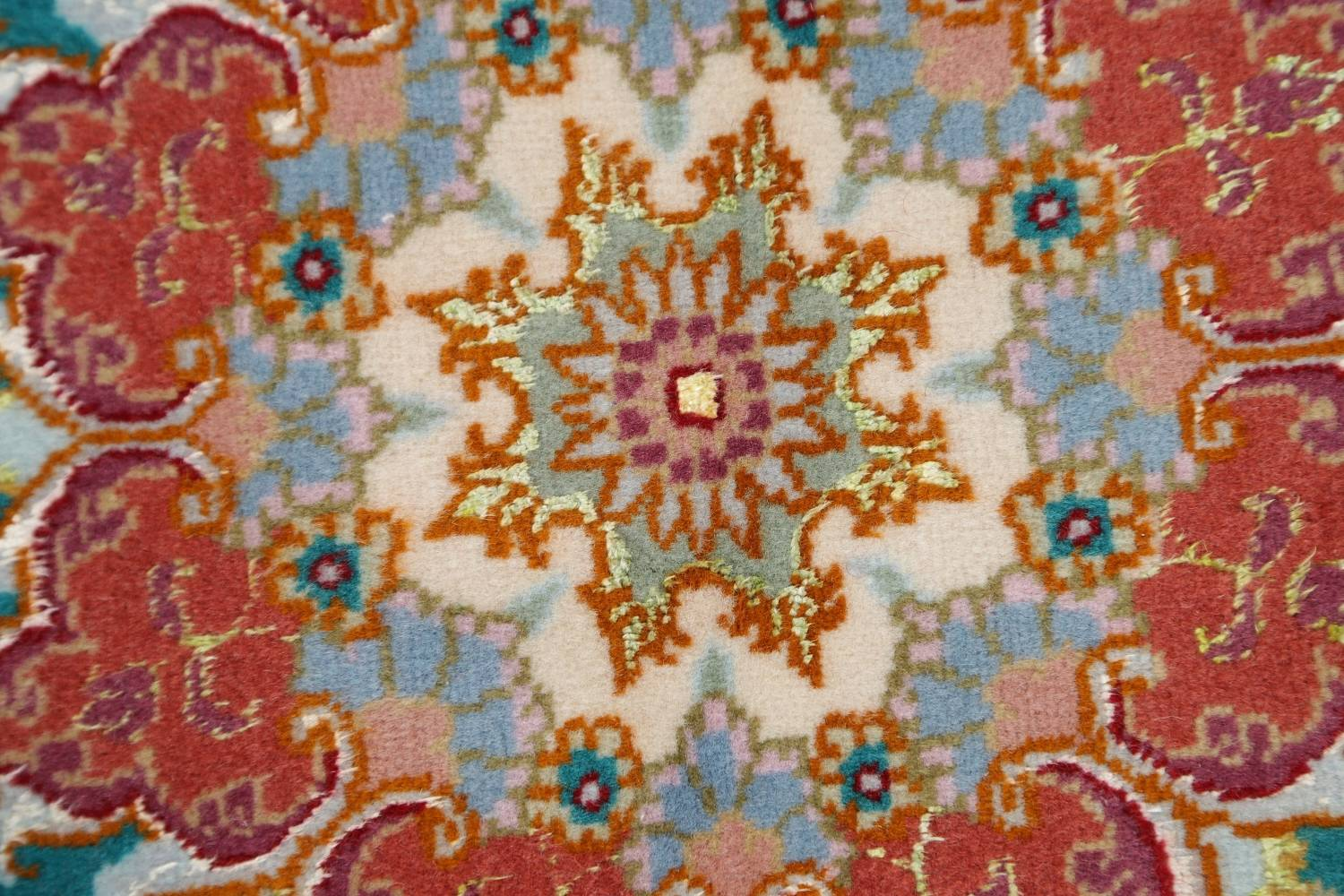 Floral Teal Tabriz Persian Hand-Knotted 3x3 Wool Silk Star Rug image 7